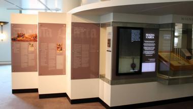 Photo of displays in Magna Carta exhibition